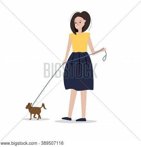The Woman Is Walking The Dog. Pets Concept. Walking In The Fresh Air, Taking Care Of Domestic Marvel