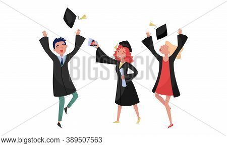 Delighted Boy And Girl Students In Academic Gown And Square Cap Cheering About Graduation Ceremony V