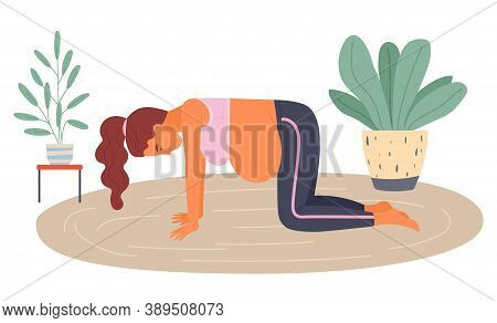 Birth Position For Painless Childbirth Labor, Pregnant Woman Standing At Knees On Floor During Painf