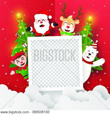 Origami Paper Art Of Blank Photo With Santa Claus And Friends, Merry Christmas And Happy New Year