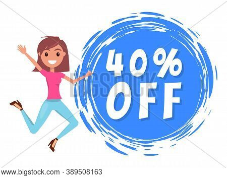 Young Smiling Stylish Girl Jumping, Waving Hand, Rejoice A Promo Action. 40 Off Sale. Promotional Po