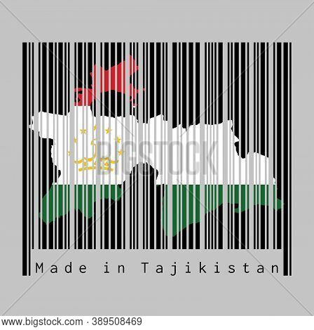 Barcode Set The Shape To Tajikistan Map Outline And The Color Of Tajikistan Flag On Black Barcode Wi