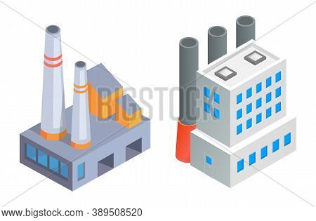 Factory Buildings With Pipes. Project Of Two Different Industrial Manufactory Buildings, Producing P