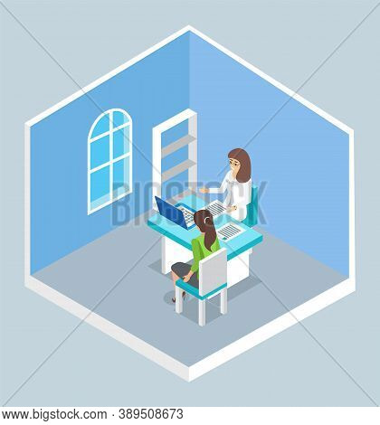 Isolated Isometric Cartoon Characters. Doctor And Patient Sitting At Table. Doctor S Reception. Woma