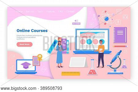 Landing Page Of Educational Website. Online Courses. Online Study, Online Science, Online Training,