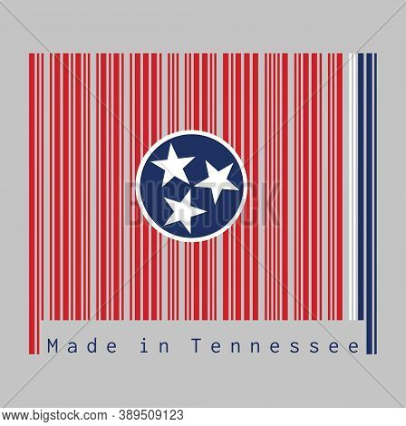 Barcode Set The Color Of Tennessee Flag, A Blue Circle With Three White Five-pointed Stars On A Rect