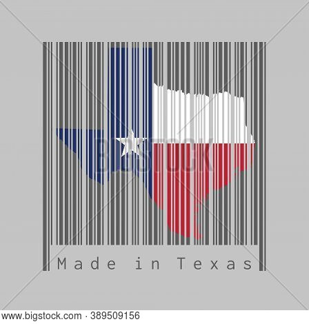 Barcode Set The Shape To Texas Map Outline And The Color Of Texas Flag On Dark Grey Barcode With Gre