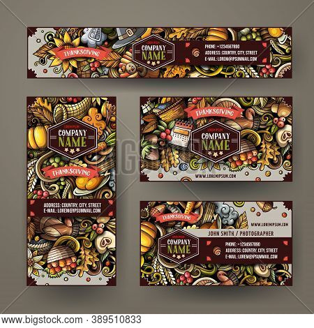 Corporate Identity Vector Templates Set Design With Doodles Hand Drawn Happy Thanksgiving Theme. Col