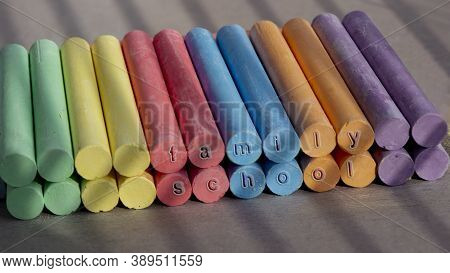 Close-up Of Rainbow Crayons.colors Of Rainbow. Crayons Of Colored Crayons. School Family.