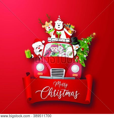 Origami Paper Art Of Christmas Character And Christmas Tree With Red Label, Merry Christmas And Happ