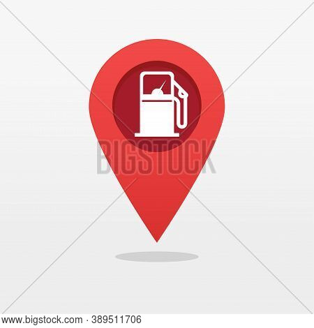 Gas Petrol Fuel Station Pin Pointer Marker Shape Icon Vector, Gasoline Refill Pump Map Location Posi