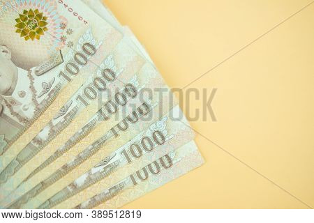 Background Of 1000 Baht Banknote. Group Of Money Stack Of 1000 Thailand Baht Banknote A Lot Of. Top