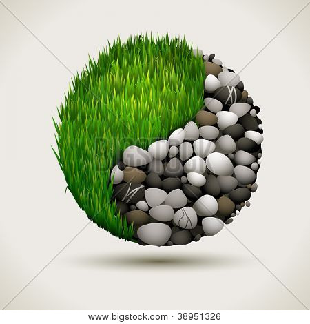 Yin and Yang concept with grass and rocks, vector