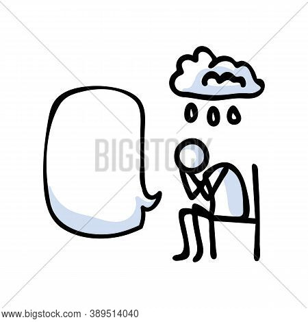 Hand Drawn Stickman Sad Crying Concept With Speech Bubble. Simple Outline Mental Health Doodle Icon