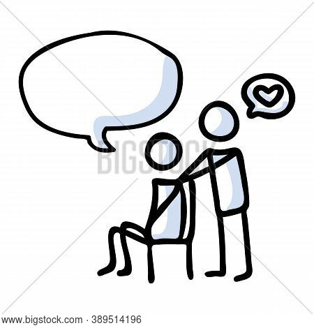 Hand Drawn Stickman Comforting Sad Friend And Speech Bubble Concept. Simple Outline Mental Health Do