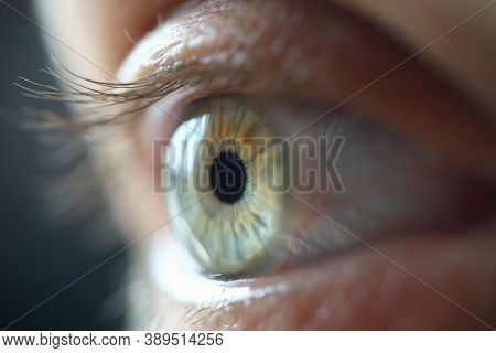 Human Eye With Eyelashes In Light Closeup. Eye Test And Optical Instruments Concept
