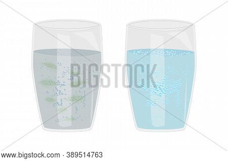 Glass With Clean And Dirty Water Isolated On White Background. Water Pollution And Infection Problem