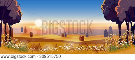 Autumn Landscape In Countryside With Misty Covered Wavy Mountains,foggy Valleys.misty Landscape Rura