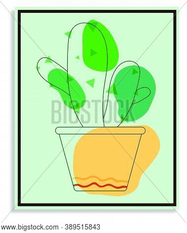 Flower Prickly Cactus In Orange Indoor Pot. Exotic Plants In Botanical Garden And At Home. Succulent