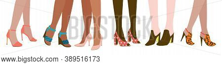 Six Female Pairs Of Legs In High Heels: Slingbacks, Pumps, Wedge-heeled Shoes, Clogs, Stilettos, Iso