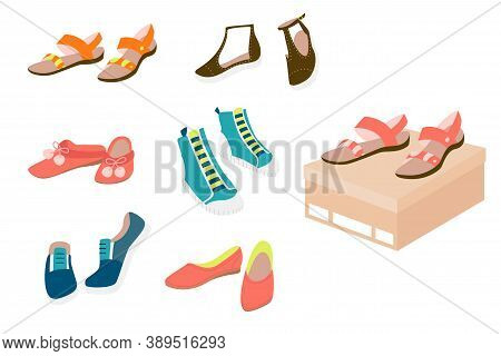 Set Of Flat Casual Female Shoes: Sandals, Loafers, Slippers, Pumps, Gumshoes, Isolated On White Back