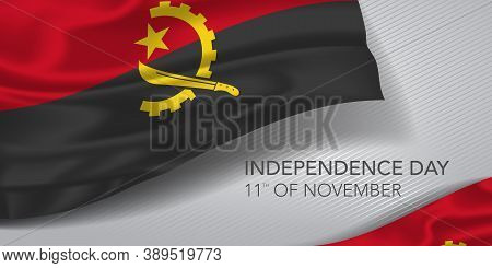 Angola Happy Independence Day Greeting Card, Banner With Template Text Vector Illustration