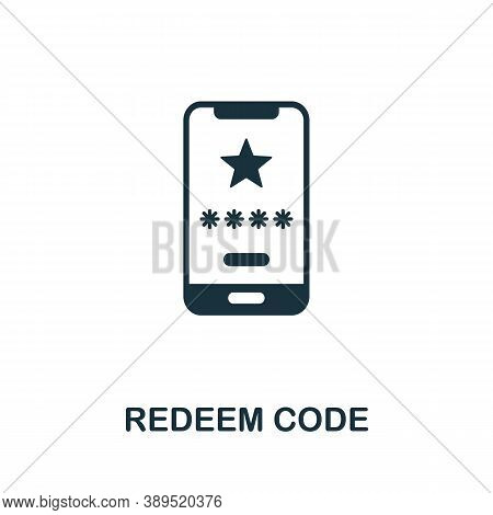 Redeem Code Icon. Simple Element From Loyalty Program Collection. Filled Redeem Code Icon For Templa