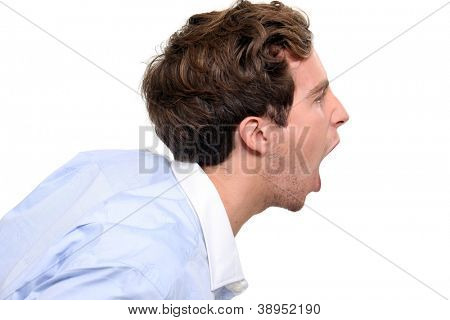 Profile of a shouting man