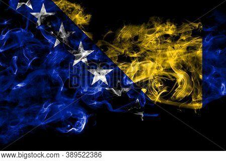 Bosnia And Herzegovina, Bosnian, Herzegovinian Smoke Flag Isolated On Black Background