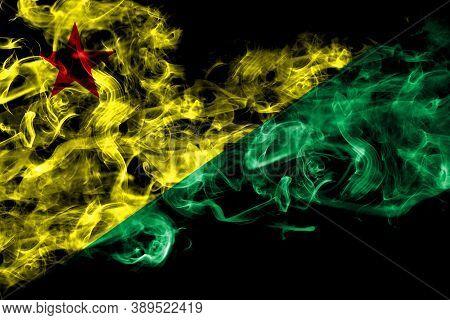 Brazil States Acre Smoke Flag Isolated On Black Background