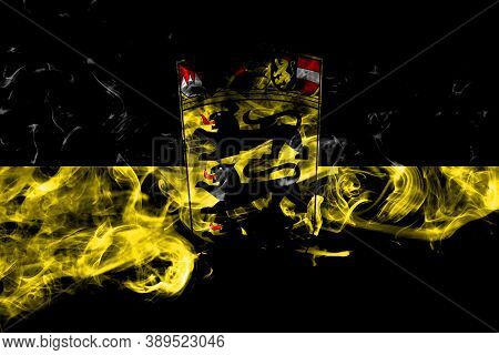 Germany, German, Deutschland, Baden Wurttemberg Smoke Flag Isolated On Black Background