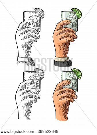 Male Hand Holding Glass Gin. Vintage Color Vector Engraving Illustration For Label, Poster, Invitati