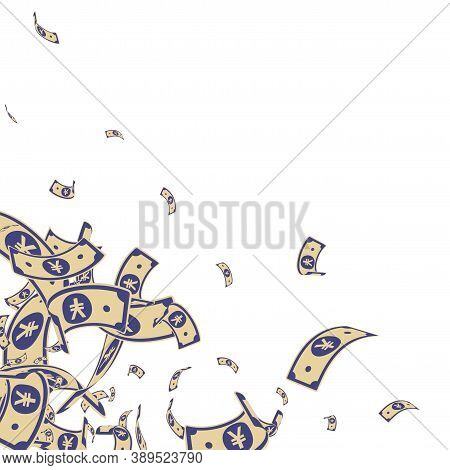 Chinese Yuan Notes Falling. Messy Cny Bills On White Background. China Money. Ecstatic Vector Illust