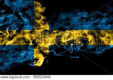 Sweden, Swedish Swede Smoke Flag Isolated On Black Background