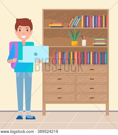 Student With Laptop And Backpack Smiling, Pupil Standing Near Cabinet With Books And Decoration, You