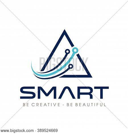 Smart Tech, Triangle Tech Logo Design Vector
