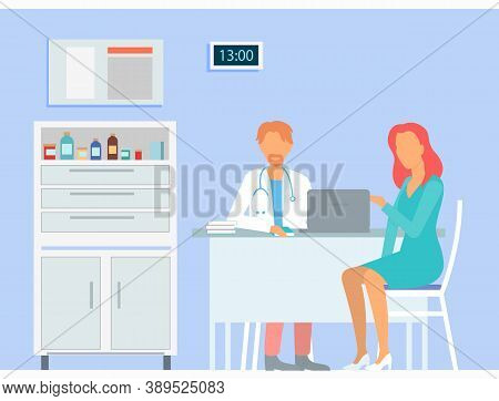 Woman Patient Consulting With Doctor. Therapist Or Physician Sit At Table Communicating With Patient