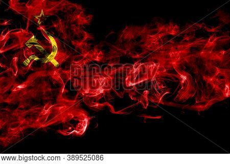 Ussr, Soviet, Russia, Russian, Communism Smoke Flag Isolated On Black Background