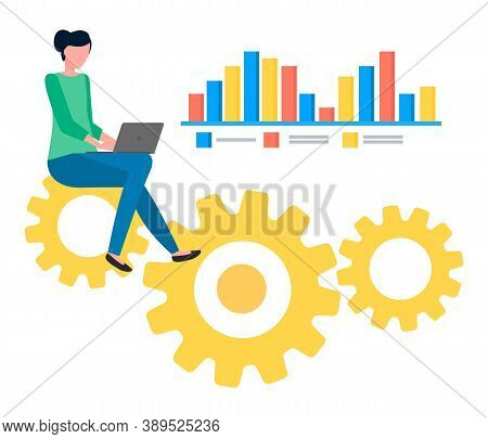 Development Of Website, Coder, Programmer, Seo Expert With Laptop, Woman Developing Site Sitting At