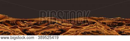 Panoramic Background Of Bright Brown Land Landscape. Vector Image
