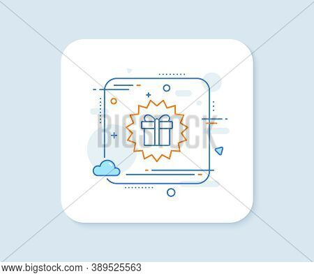 Gift Box Offer Line Icon. Abstract Square Vector Button. Present Or Sale Sign. Birthday Shopping Sym