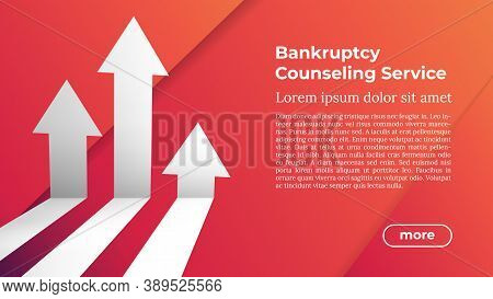 Web Template In Trendy Colors - Bankruptcy Counseling Service. Business Arrow Target Direction To Gr