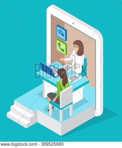 Isometric Tablet. Online Consultation Doctor With Patient Woman. Healthcare And Treatment. Medical A
