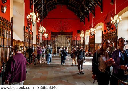 Edinburgh, Great Britain - September 10, 2014: This Is An Interior Of The Great Hall Of Edinburgh Ca