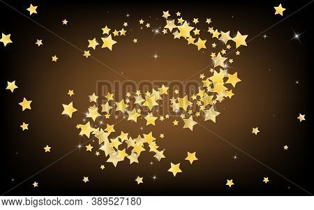 Gold Abstract Stars Vector Brown Background. Party Star Pattern. Starry Border. Yellow Celebration G