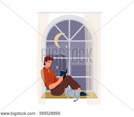 Man Reading Book Vector Background. Male Character Comfortable Sitting On A Windowsill With Cat Pet
