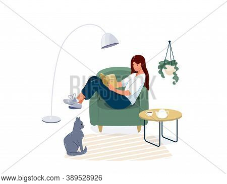 Woman Reading Book Vector Background. Relaxed Girl Comfortable Sitting On The Armchair And Read, Iso