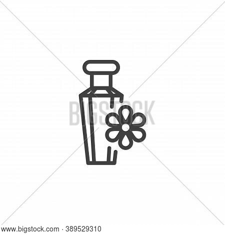 Fragrant Perfume Line Icon. Linear Style Sign For Mobile Concept And Web Design. Flower Perfume Bott