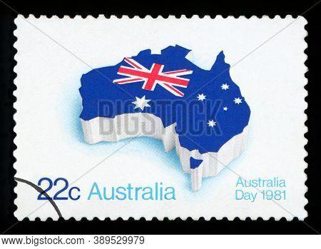 Australia - Circa 1981: A Stamp Printed In The Australia Shows Flag On Map Of Australia, Australia D