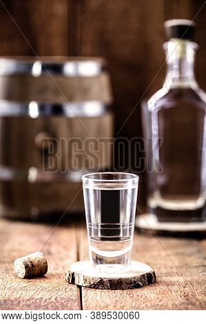 Alcoholic Beverages, Cachaça, Rum, Rum And Cognac. Selection Of Strong And Strong Alcoholic Drinks,